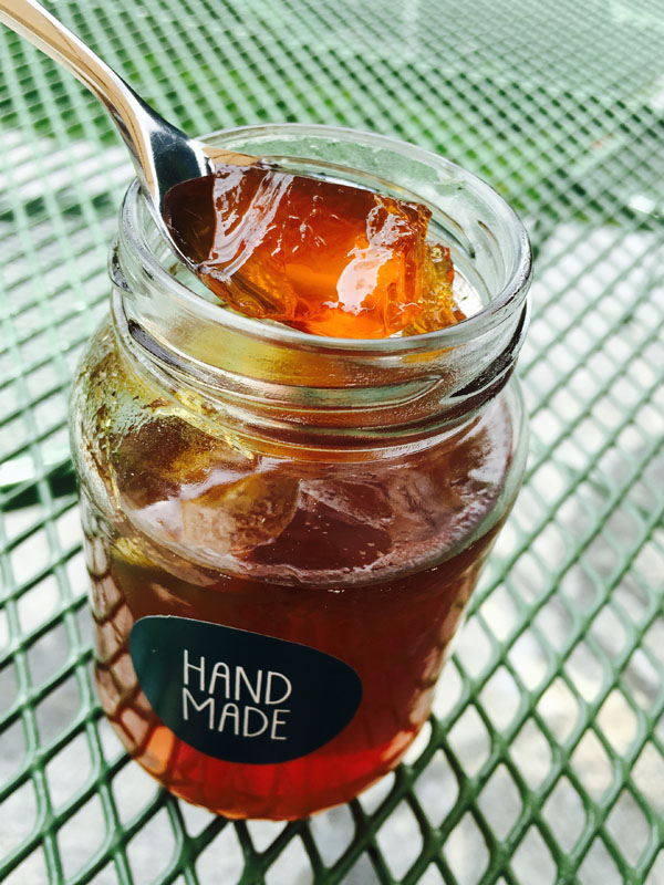 gelatina di tarassaco mirtilli a colazione